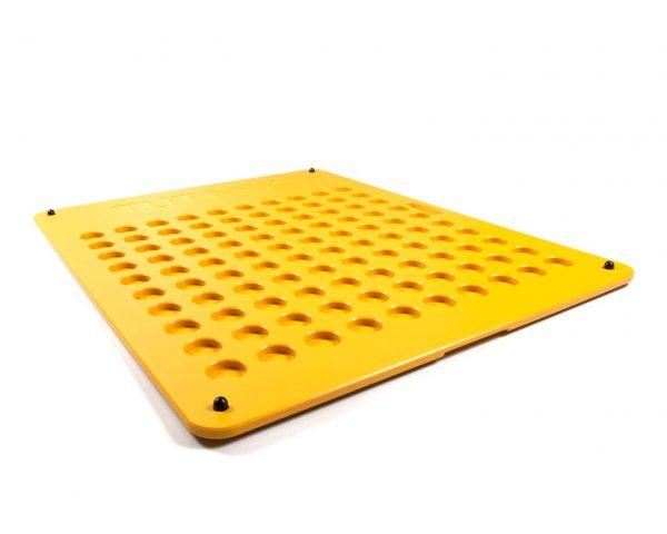 Spillbase gul med 100 hull